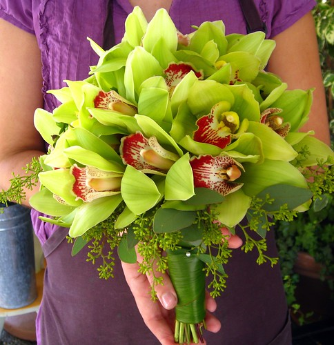 green cymbidium bridal bouquet about 30 individually wired green cymbidiums