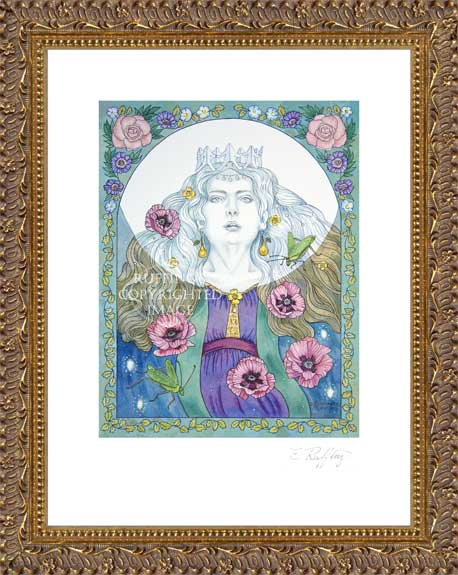 The Moon Sings a Lullaby ER3 Fairy Print by Elizabeth Ruffing, Framed