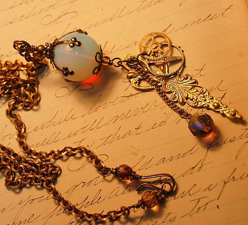 Agnes Zancig's Miniature Gazing Ball - Steampunk Opalite Necklace
