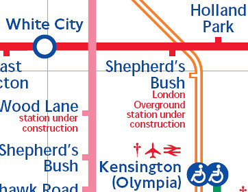 Shepherd's Bush on Large Print Tube Map last updated November 2007