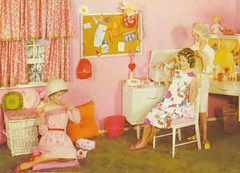 003 - 60s Home Dos (Sydney Michelle) Tags: pink brown net home hair chair pair hairdo hood salon 1960s rollers brunette hairstyle dryer sixties hairnet rolled curlers brownette