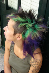 hair color green  and purple (wip-hairport) Tags: green portugal hair punk purple ines lisbon hairdresser salon hairstyle dyed wiphairport