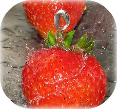 Don't Forget To Wash Your Fruit! (sillyfrog :-)) Tags: macro water drops strawberry splash platinumphoto