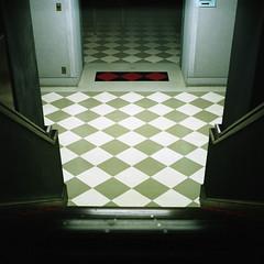 basement (F_blue) Tags: tokyo kodak hasselblad portra400nc mita 500cm  keiouniversity oldlibrary   planart c8028 campusatnight   fblue2008