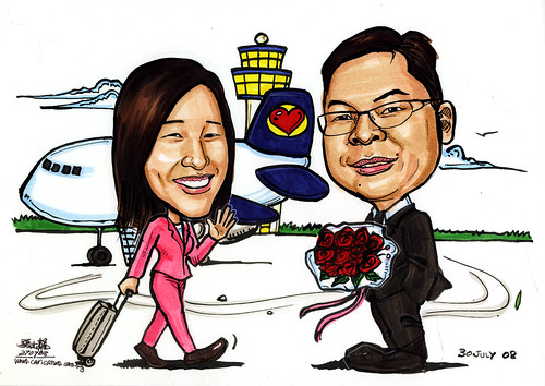 Couple caricatures welcome back