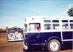 Eddie K driving a preserved 1950 General Motors TDH old look bus from the West Towns Bus Company. The Midwest Transit Bus Museum. Crest Hill Illinois. September 2000.