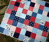 girls red blue patchwork quilt