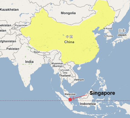 Where is China - where is Singapore