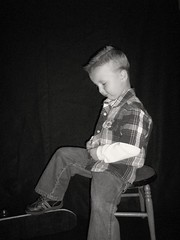 Dylan's  photo shoot on black backdrop (Casey Keith) Tags: boy portrait blackwhite child naturallight skateboard