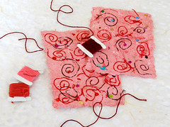 Red Swirly Handmade Recycled Paper (snitterdog) Tags: pink red paper swirls etsy supplies craftsupplies ecofriendly recycledpaper earthfriendly handmadepaper snitterdog thegreenefairy handmadereycledpaper