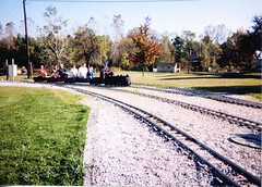 "Miniature 7 and 1/2 "" guage live steam railroad. The Hesston Steam Museum. Hesston Indiana. October 1998."