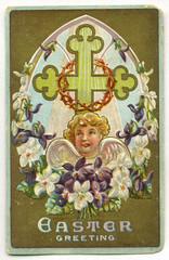 Vintage easter card (* angelandim *) Tags: vintage cards memories imagens angels postcards antiques colagem anjos lembranas vintagecards vintagegreetingcard oldcards cartesantigos
