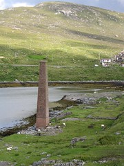 The abandoned whaling station at Bunavoneader - all that remains is the chimney and the large slipway for dragging the whale up