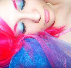 Day 197 (like_shipwrecks) Tags: pink blue selfportrait eyes purple pearls 365 eyeshadow pinkhair tulle tutu 365days