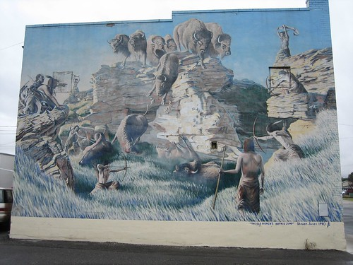 Old Women's Buffalo Jump Mural by Larry He