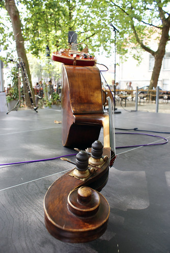 double bass with guitar on top