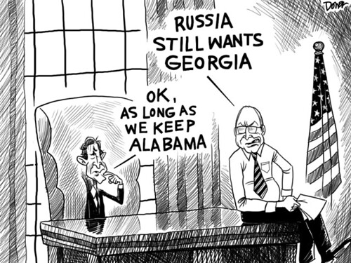 george bush wonders what to do about Russia and Georgia political cartoon