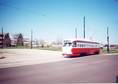 Kenosha Wisconsin red 1951 vinatge PCC electric streetcar. Kenosha Wisconsin. April 2001.