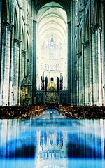High Altar... (Trapac) Tags: blue autumn france reflection film xpro crossprocessed cathedral columns churches arches olympus slidefilm xa2 unescoworldheritagesite unesco 1981 agfa olympusxa2 amiens find chancel dury 100iso ctprecisa highaltar precisa picardy wmh agfactprecisa amienscathedral cathdralenotredamedamiens thecathedralofourladyofamiens picardieregion olympusxa2roll7 prrequiredgty