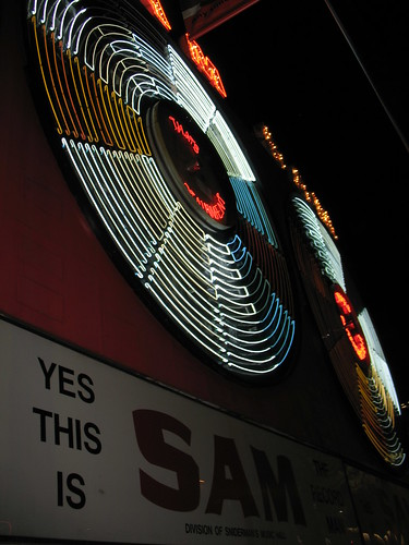 Lighting the Sam The Record Man Sign for the Last Time (1)