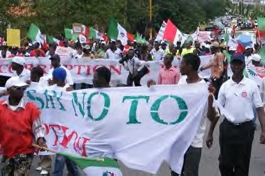 Nigerian Labour Congress members at an anti-corruption demonstration during 2008. by Pan-African News Wire File Photos