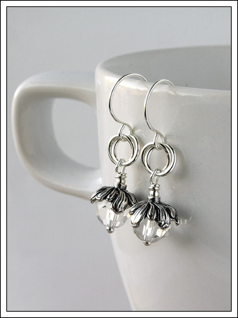 Crystal quartz & silver earrings