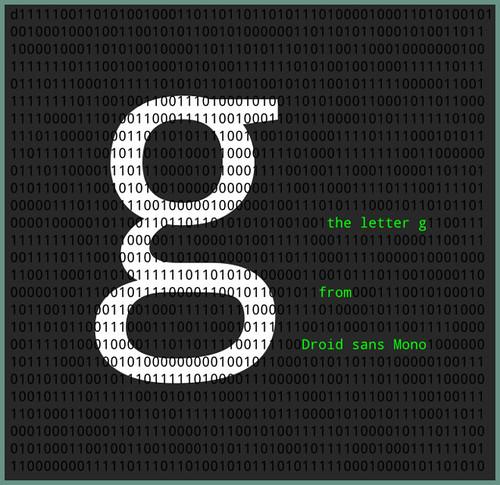 """La lettre """"g"""", en Droid Sans Mono."""