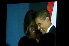 President Barack Obama and First Lady Michelle Obama (therese flanagan) Tags: urban chicago history topv111 president streetshots grantpark chicagoatnight election2008 historicalmoments historyinthemaking presidentobama presidentbarackobamaandfirstladymichelleobama