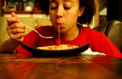 43:365 (lisaluonoceanave) Tags: portrait food girl eating plate fork 365 spaghetti