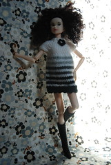 Irina Models Her Feltland Dress (Girl Least Likely To) Tags: fashion toys japanese blackwhite dolls vinyl etsy irina ccs whitelion momoko petworks asiandolls closeclippedsheep feltland sunnylingerie handmadeknitdress