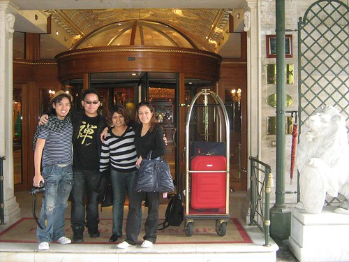 Zahir Omar, me, Maha and Ide Nerina outside Grand Hotel Parco dei Principi before departure
