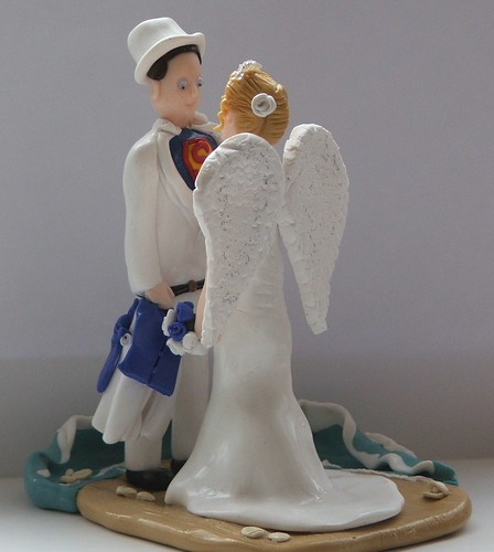 Angel Bride and Superman Groom Fimo Wedding Cake Toppers on Flickr Photo