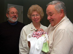 Uncle Leo, Aunt Sharon and Grandpa Miller with Liesl