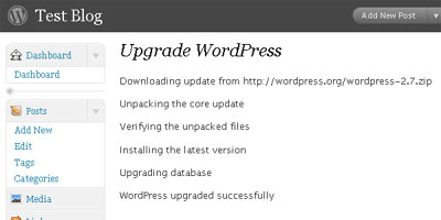 WordPress 2.7 Automatic Upgrade