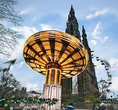 Edinburgh Fairground Spinny Ride! (Semi-detached) Tags: christmas street monument wheel gardens buildings scott scotland edinburgh long exposure ride fairground market ferris german spinning princes ecosse