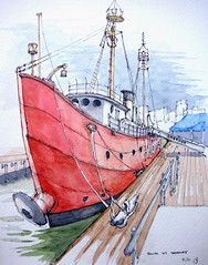 Ambrose (James Anzalone) Tags: street city nyc red reflection water skyline illustration ink watercolor grey james boat sketch dock colorful ship drawing manhattan south gray perspective landmark historic line bow freehand mast nautical curved vignette seaport rendering anzalone urbansketchers