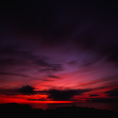 Flaming Horizon (akira ASKR) Tags: sunset sky cloud fuji horizon hasselblad 夕陽 okinawa 沖縄 provia provia100f hasselblad500cm manza rdpiii 万座毛 distagoncf50mmfle