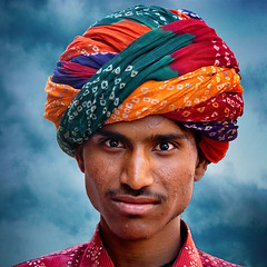 The Turban..or..(Pagri) (pearson_251) Tags: travel portrait india man color eyes colorful portraiture turban pushkar youngman rajastan