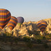 Group of low flying balloons - Goreme, Cappadocia, Turkey