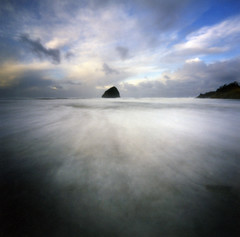 secrets found at sea (manyfires) Tags: ocean sea film beach coast waves pacific shoreline pinhole pacificocean pacificnorthwest haystackrock zero2000 zeroimage pacificcity capekiwanda palabra pinholebb