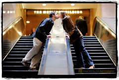Escalating Love (Ryan Brenizer) Tags: wedding woman man love march engagement nikon kiss escalator gothamist topf150 2008 d3 85mmf14d