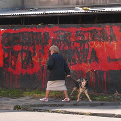 polish woman with dog