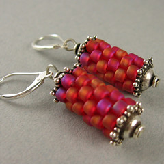 prayer wheel earrings in fuchsia (yellowplumbeads) Tags: pink beads handmade jewelry handcrafted earrings beaded yellowplum beadwork seedbeads beadweaving artisanjewelry peyotestitch handcraftedjewelry gourdstitch yellowplumbeads susanshaw etsymaine
