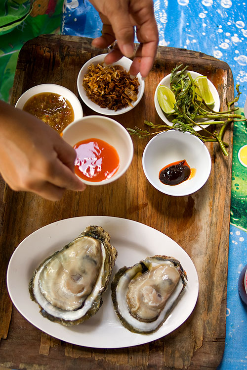 Raw oysters at Bang Po Seafood, Ko Samui.