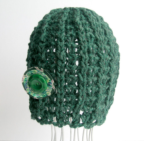 open knit hat with detachable vintage button
