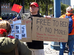 Free To Bed ?? No More! (tingley) Tags: sanfrancisco sign protest torch embarcadero olympics beijing2008 sfist