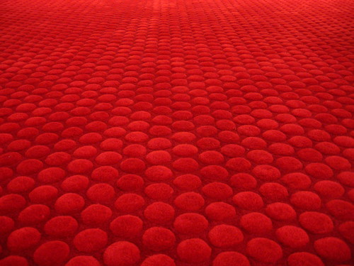 plush red carpet at the Blackstone Hotel in Chicago