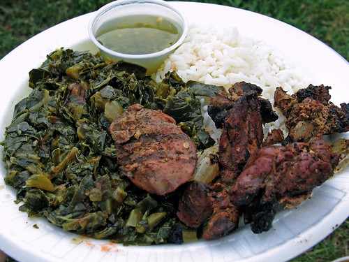 Grilled Chicken  Livers with Pepper Jelly Sauce, Collard Greens and Rice