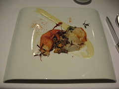 Charlie Trotter's: Maine day boat lobster with elephant garlic and grilled eagle rock oyster