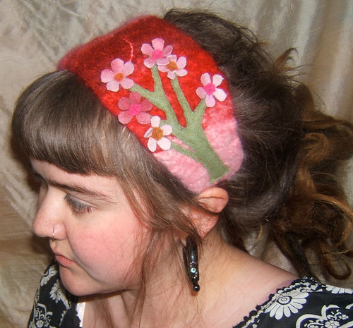 Cherry Blossom Tree Felted Wool Headband